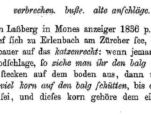 1780: Strafe für eine getötete Katze
